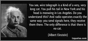 You see, wire telegraph is a kind of a very, very long cat. You pull ...