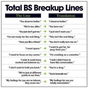 What breakup lines really mean funny facebook quote