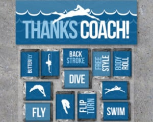 Swimming Coach Thank You Gift – Swimming Mini Candy Bar Wrappers and ...