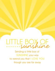 Little Box of Sunshine - Care Package Ideas. shopringmasters.com More