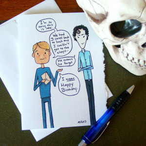 Sherlock Belated Birthday Card - BBC - Holmes and Watson