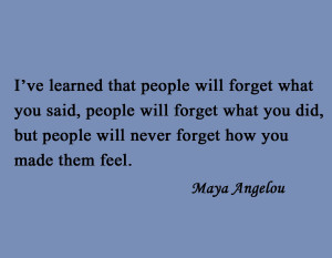 Art Famous Quote, Poet Maya Angelou, People Will Forget What You Said