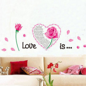 Pink-Flower-Heart-Love-Quotes-Wall-Stickers-Vinyl-Mural-Art-Decals ...