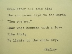HAFIZ Love Poem Hafiz Quote Hand Typed Quote Made with Vintage ...