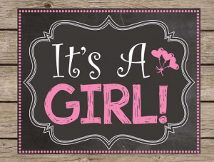 Reveal Chalkboard Gender Reveal Girl Boy Due Date Poster #kids #quotes ...