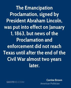 Corrine Brown - The Emancipation Proclamation, signed by President ...