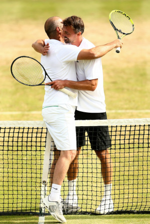 Cedric Pioline and Goran Ivanisevic during Day 5 of The Boodles Tennis ...