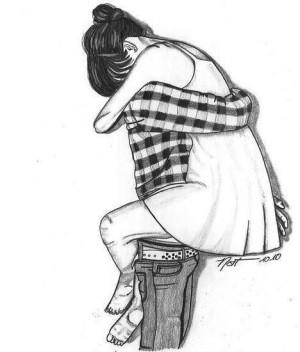 art, b&w, couple, draw, drawing, hug, illustration