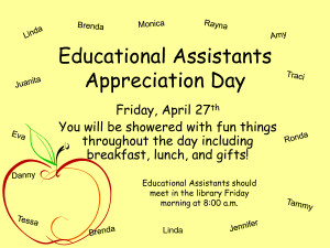 Educational Assistants Appreciation Day by ulm13840
