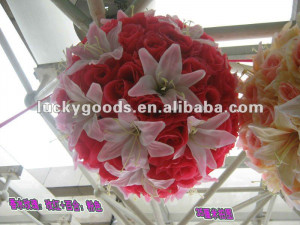pink rose&lily flower ball for wedding decoration,hanging flower ball