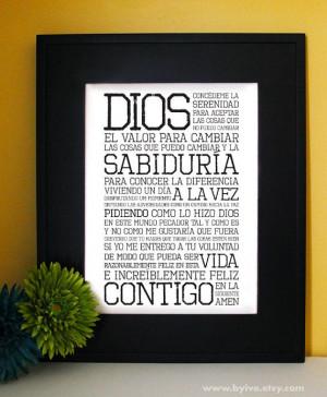 Serenity Prayer. AA Prayer. Inspirational Quote. Spanish-Español