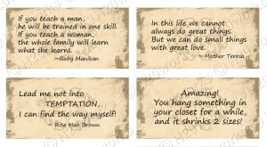 Women's Quotes Digital Rectangles on 8.5x11 Sheet (20 Different Quotes ...
