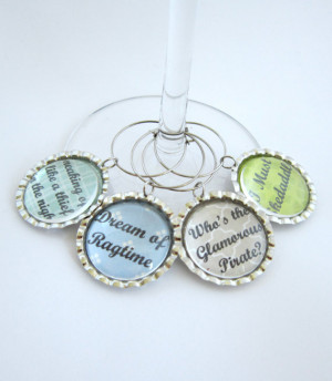 Downton Abbey Wine Glass Charm Cora & Earl of Grantham Quotes