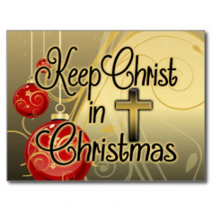 Keep Christ in Christmas, Gold/Red Christian Post Card