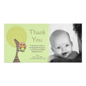 Owl Thank You New Baby Arrival Gift Photocard Photo Cards