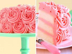 White Cake with Strawberry Buttercream