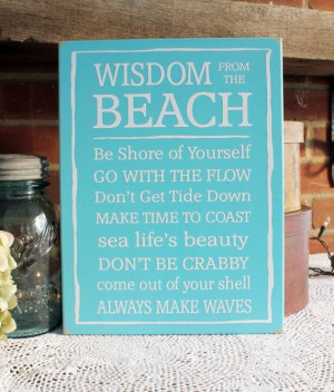 Beach Sign with Sayings Wooden Cottage Wall by CountryWorkshop, $28.00