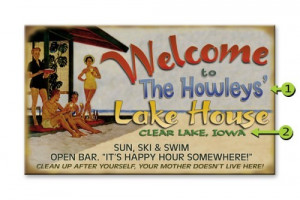 ... > Welcome-to-the-Lake-House-Vintage-Wood-or-Metal-Personalized-Sign