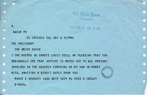 telegram Emmett Till's mother, Mamie Bradley, sent to President ...