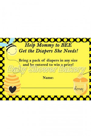Diaper Raffle Ticket, Bumble Bee Baby Shower Game, Printable Diaper ...
