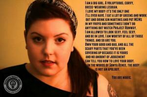 ... girl. A voluptuous, curvy, dress-wearing lesbian.