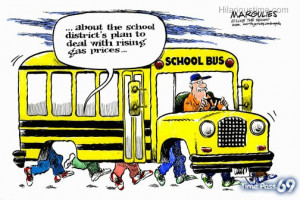 Funny school bus cartoon