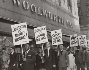 Segregation is Wrong: Protester Picket the Woolworth store