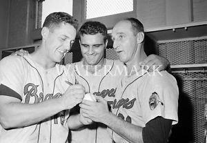 Warren Spahn Joe Torre Gene Oliver 8x10 Photo Milwaukee Atlanta Braves