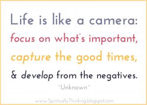 Life is like a camera...