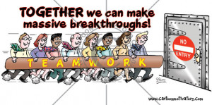 Teamwork cartoon. Team of people running towards heavy steel door with ...