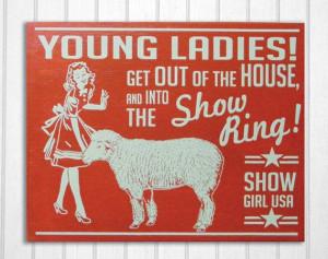 Wool Sheep Livestock Show Retro Hand Screened Wood Sign