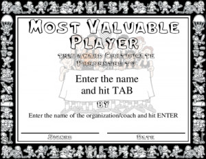 Most Valuable Player award featuring fun, sports frame in black and ...
