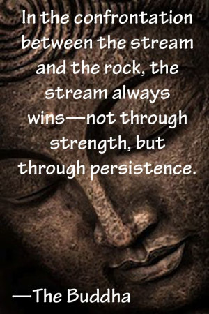 In the confrontation between the stream and the rock, the stream ...