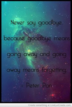 Never say goodbye -Peter Pan More