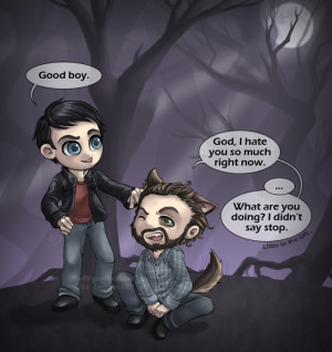 cute Grimm art with Nick and his Blutbad friend, Monroe