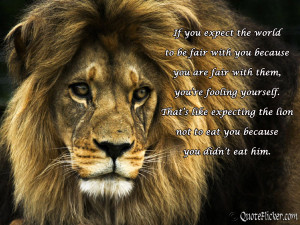 ... like expecting the lion not to eat you because you didn t eat him