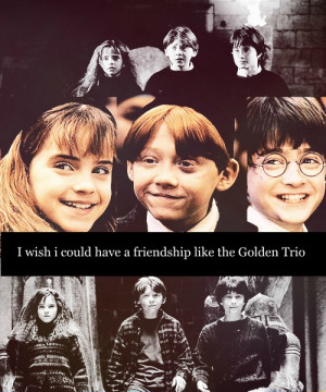 Harry, Ron and Hermione I wish could have a friendship like the Golden ...
