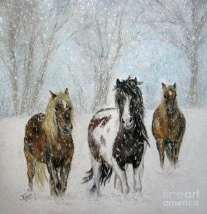Snow Horses Pastel