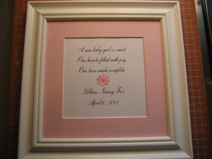 New Baby Quotes Framed quote for new baby girl