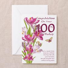 100th Birthday Pink Crocus Card Greeting Cards for