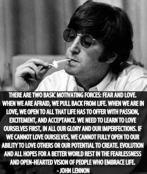 john lennon, quotes, sayings, positive, fear, love