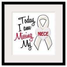 Bone Lung Cancer Awareness Ribbon Am Missing Miss Framed Prints
