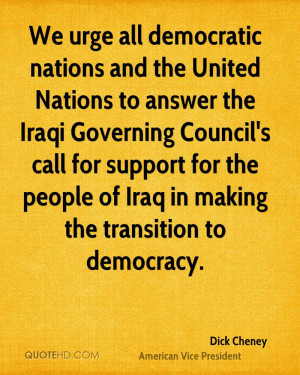 ... Iraqi Governing Council's call for support for the people of Iraq in