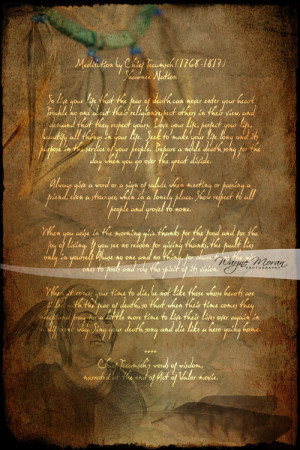 ... it had this amazing poem by Native American Shawnee Chief, Tecumseh
