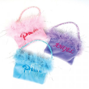 Feather Purses With Embroidered Sayings (1 dz)