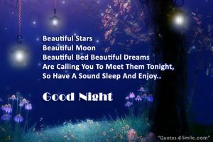 Beautiful Moon and Stars Saying Good Night