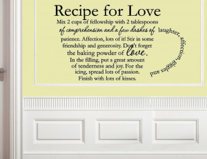 Recipe for Love Vinyl wall decals quotes sayings word On Wall Decal ...
