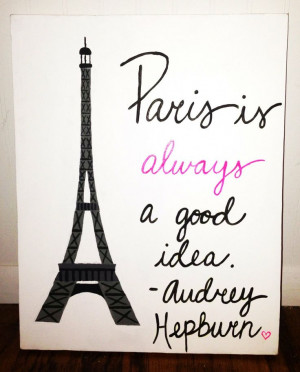Original Canvas Painting Paris Audrey Hepburn by JordansCanvas, $24.00