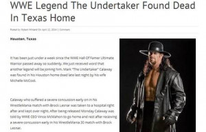 Undertaker death hoax goes viral on internet