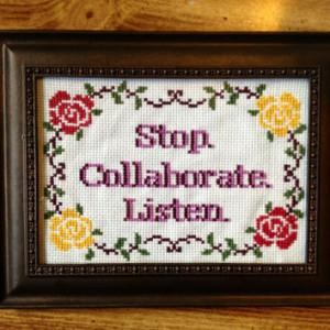 Stop Collaborate Listen Vanilla Ice Ice Baby Framed Cross Stitch Art